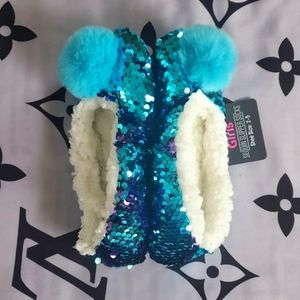 Girls Sequin Sherpa Slippers 2-5